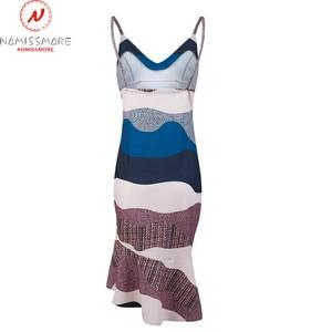Image 4 - Women Streetwear Trumpet Dress Patchwork Design Ruffles Decor V Neck Sling Print Asymmetrical Dress Elegant Lady Slim Hips Dress
