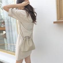 Women Drawstring Shoulder Bag Leather Small Crossbody