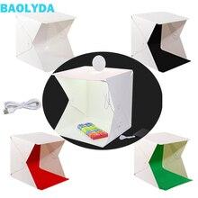 Baolyda Photobox iluminación 40*40 2LED Mini Lightbox Photo Studio Kit para fotografía caja de luz con 4 colores telón de fondo