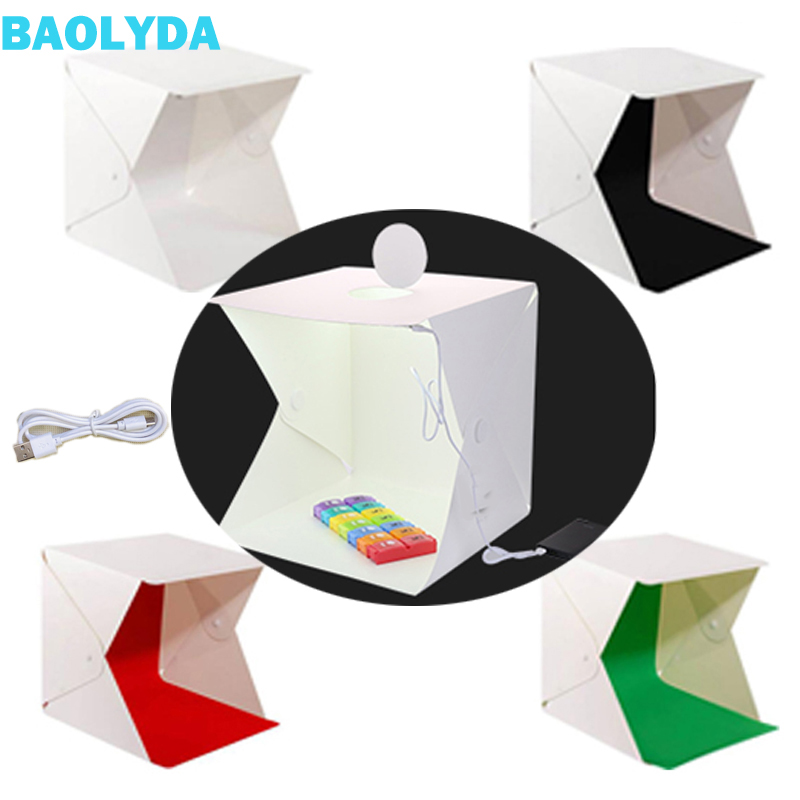 Baolyda Whitebox Photobox Lighting 40*40 2LED Mini  Lightbox Photo Studio Kit for Photography Light Box with 4 Color Backdrops-in Tabletop Shooting from Consumer Electronics