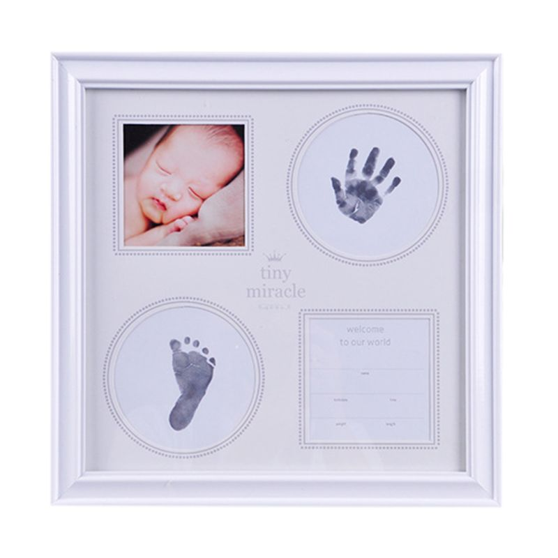 Newborn Baby Hand Foot Print Mud Photo Frame Newborn Souvenir Hundred Days New Parents Creative Gifts