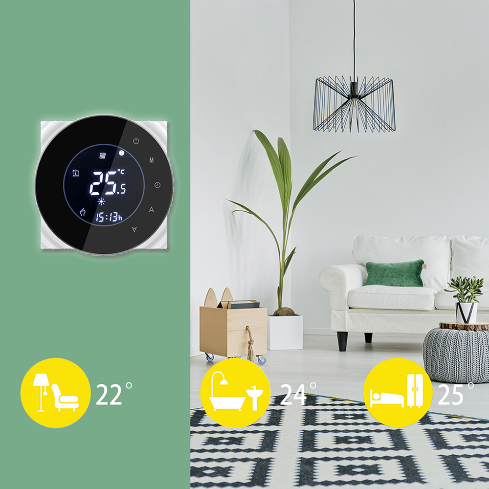 Round Thermostat LCD Boiler Heating Room Temperature Controller Touchscreen Winter Programing  NTC Negative Display Thermostat