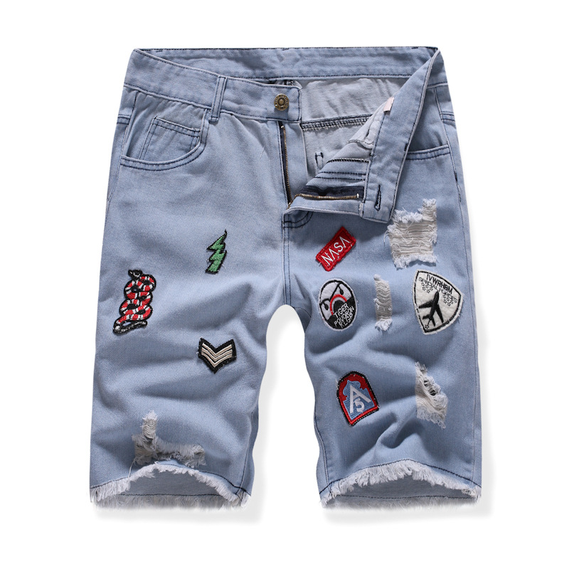 Summer New Style Men Fashion And Personality Multi-Embroidered Labeling Casual Denim Shorts Teenager Versatile Shorts