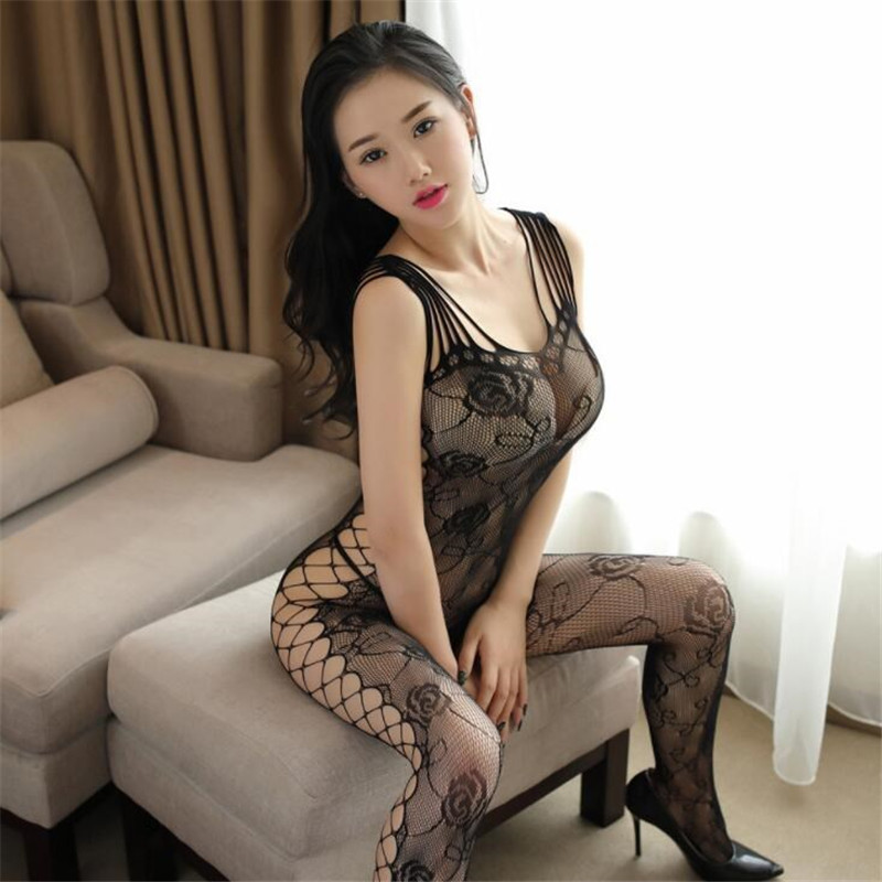 Printed Multi-shoulder Strap Lingerie Sexy Net Clothing Black Hollow Out Elastic Jumpsuit Siamese Stockings Female Charm Tights