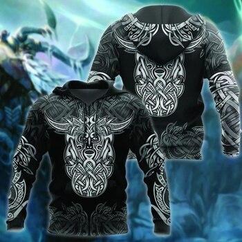 Viking odin Tattoo 3D Printed Men women hoodies Harajuku Fashion Sweatshirt Cosplay costume Casual jacket Zip Hoodie Halloween 1