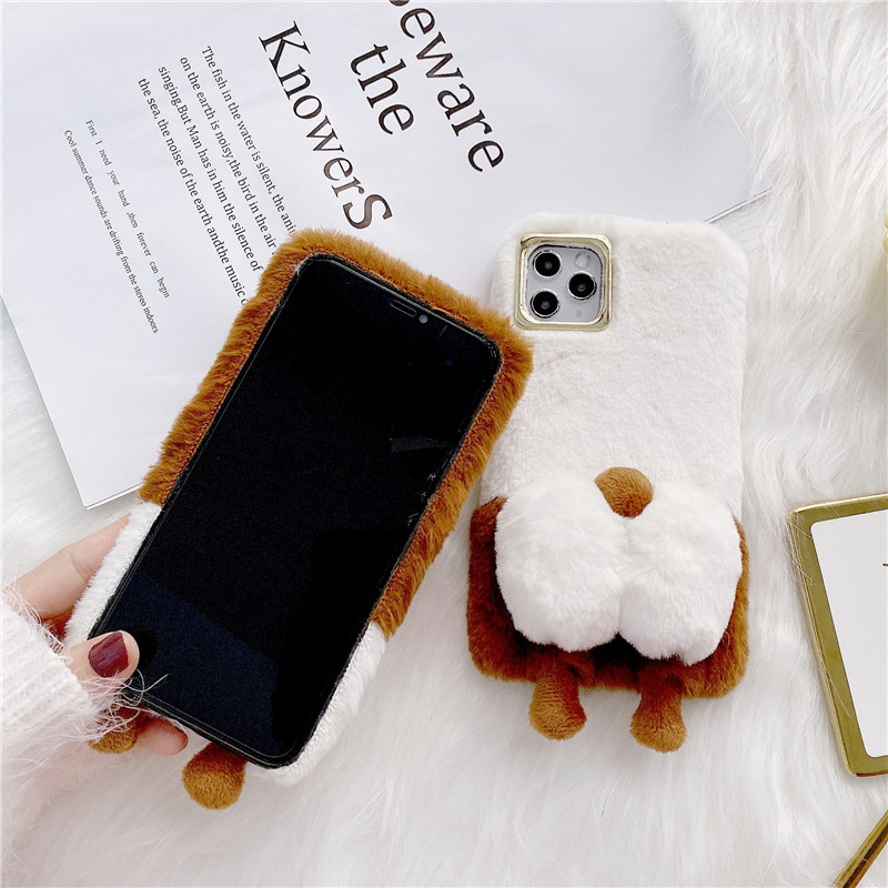 Cute Warm Fuzzy Dog Butt Phone Case For iPhone 12 Pro Max 12