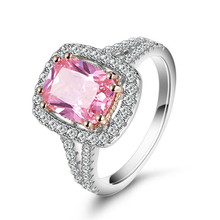 S925 Sterling Silver zirconium Stone Engagement Ring Pink