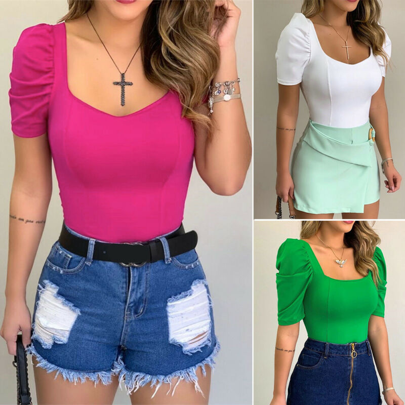 2020 New Women Slim Pullover Shirt Blouse V-neck Ladies Summer Puff Short Sleeve Solid Tops Shirt Tee Fashion Clothes