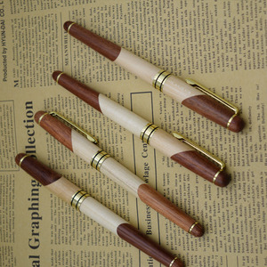 Image 2 - (12 Pieces/Lot) Nature Wood Gel Pens Wholesale 0.5 mm Black Ink Refill Signing Pen Wholesale Office School Supplies