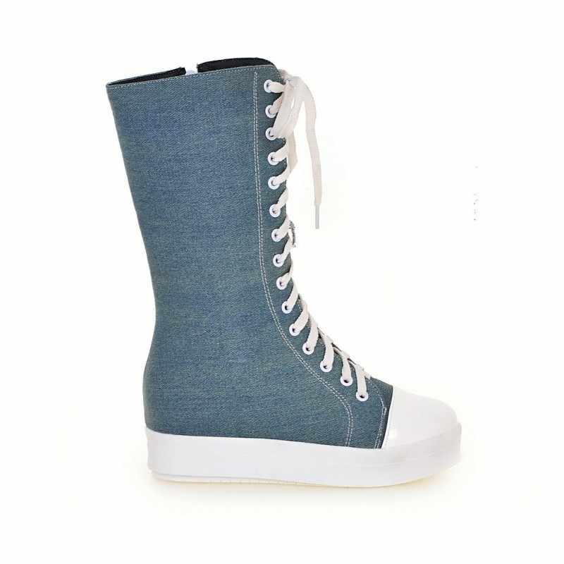 Preppy zasznurować dziewczyny płótno średnio wysokie buty z cholewami komfort zagęścić płaski obcas Denim damskie buty na co dzień pnącza platforma obuwie uliczne