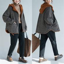 Зимнее теплое пальто с длинными рукавами, Женская клетчатая утепленная куртка, повседневная шерстяная большого размера, бархатная Свободная верхняя одежда с капюшоном, f1601