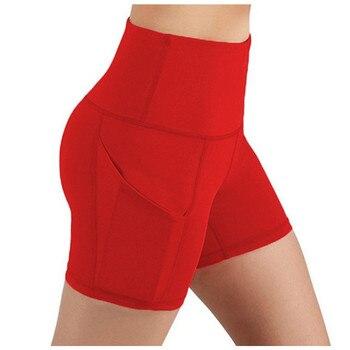 Slim Solid Shaper sport women shorts Pocket High-waist Hip Stretch biker short Running Fitness Athletic Casual Skinny Short