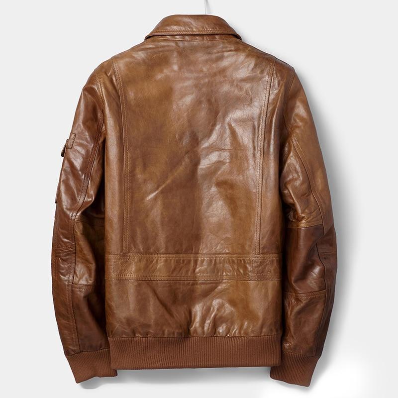 Genuine Leather Jacket Men 100% Sheepskin Coat Motorcycle Jacket Man Short Vintage Real Leather Jackets 81C253 YY279