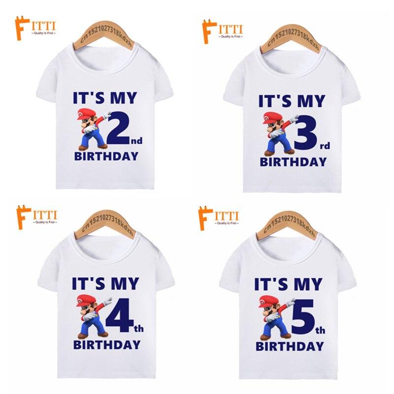 Boy Gir Cartoon Dab SuperMario Funny Birthday T Shirts Children It's My 1-10th Birthday Dabbing T-shirt Kid's Summer Clothes