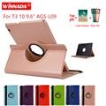 Чехол для huawei MediaPad T3 10 9 6 дюймов AGS-L09 L03 W09 кожаный чехол вращающиеся на 360 для планшетов Honor Play Pad 2 9 6
