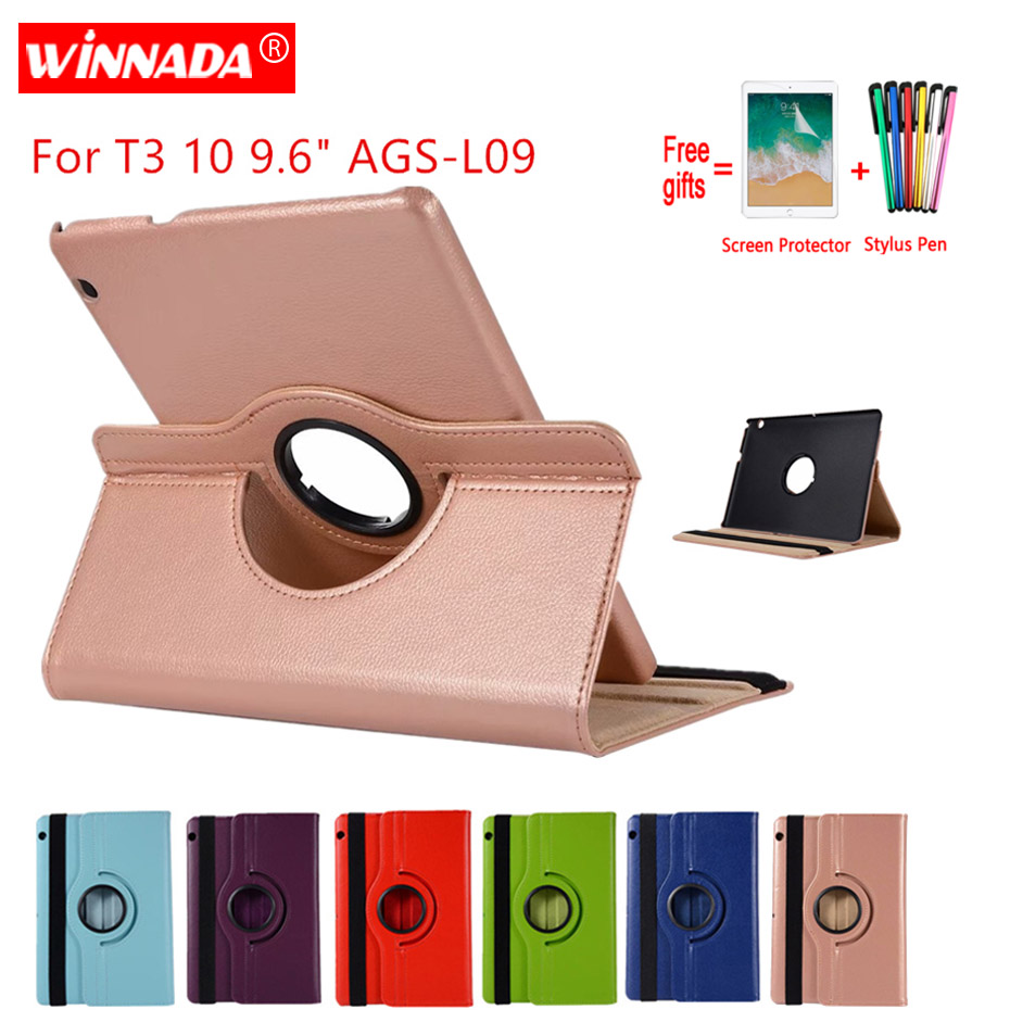 """Case For Huawei MediaPad T3 10 9.6 inch AGS L09 L03 W09 Leather Cover 360 Rotate Tablets for Honor Play Pad 2 9.6""""Case+Film+Pen