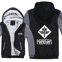 Für Manowar Hoodies Männer Casual Mantel Wolle Liner Jacke Rock Roll Band Sweatshirts Mans Pullover(China)
