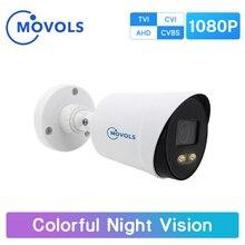 Movols 1080p cor em tempo integral câmera de segurança ahd/tvi/cvi/cvbs sony sensor câmera de vigilância de vídeo câmera analógica bala
