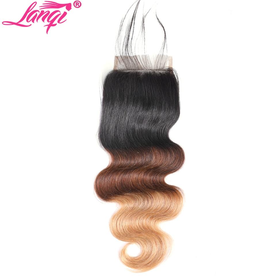lanqi lanqi Brazilian body wave 4x4 Top Lace Closure Non Remy 1b 4 27 99j Burgundy blonde Ombre peruvian Human Hair Swiss Lace closure