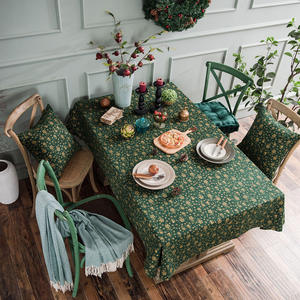Tablecloth Decorative Linen Rectangle Dinning Christmas-Party Green Cotton Japan-Style