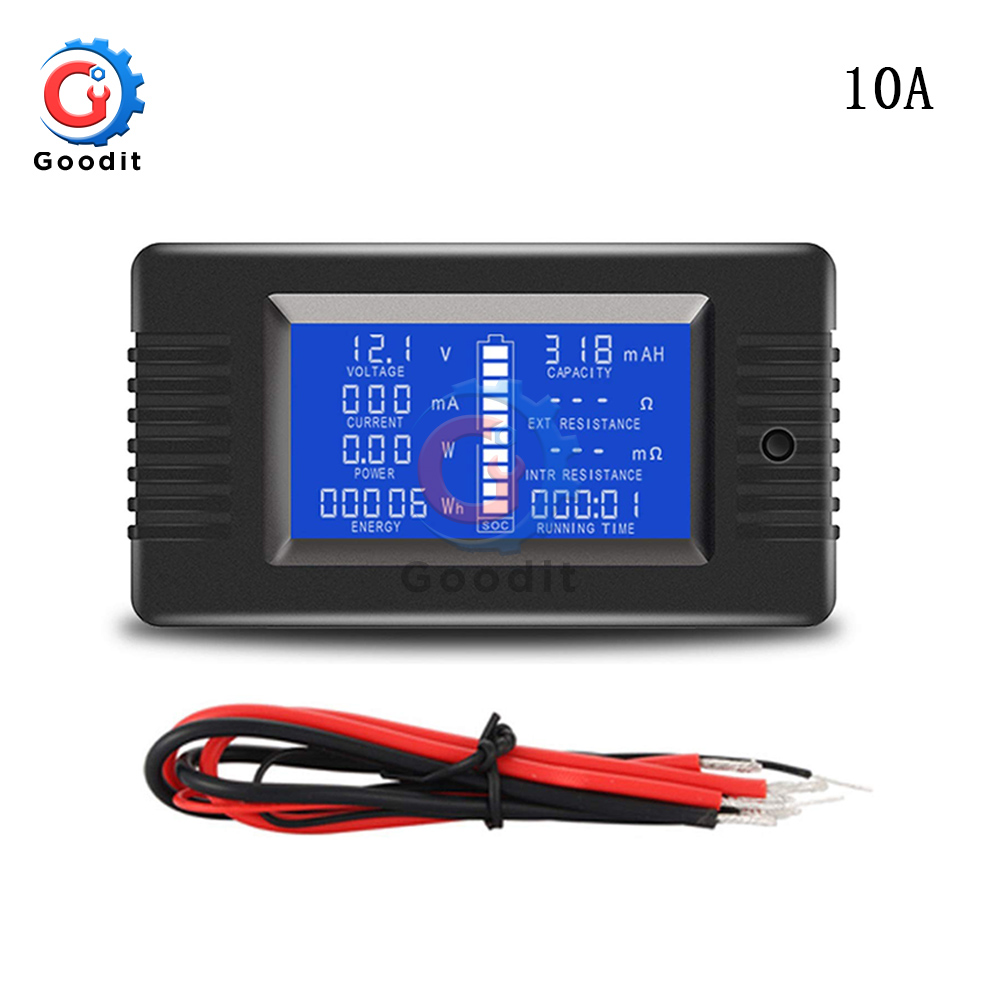 PZEM-013 10A Battery Tester Voltmeter Ammeter Power Voltage Current Impedance Capacity Energy Time Meter Monitor built-in shunt