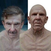 Peruca velho máscara de halloween máscara completa látex máscara facial assustador chapelaria horror máscara para o jogo de halloween cosplay prom adereços 2021 novo