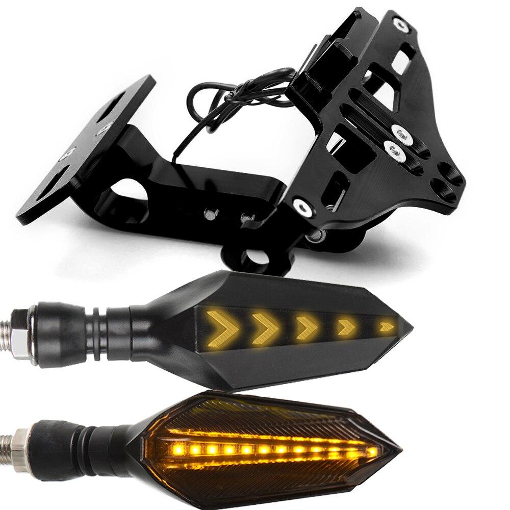 Мотоцикл номерной знак рамка держатель кронштейн с светодиодный указатель поворота мигалка для Honda CBR600 F3 F4 F4I CBR1000 RR - Цвет: Черный