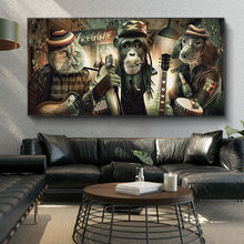 Rock And Roll Monkey Dog Band Funny Animal Poster Painting On Canvas Prints Wall Art Mural Pictures For Bar Cuadros Decoration