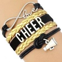 Infinity Megaphone Cheer Mom Bracelets Cheerleader Cheering Squad Team Charm Girls Leather Wrap