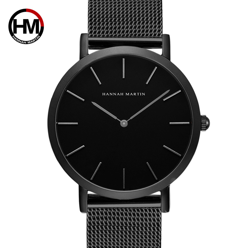 Hannah Martin Watches Men Simple Dial Design Luxury Quartz Clock 2020 Fashion Dress Accesories Watch Top Brand Black Wristwatch