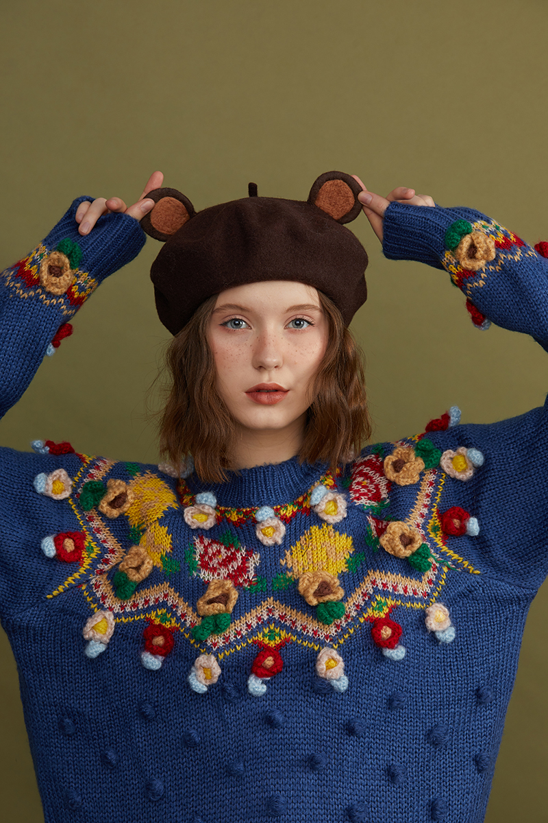 Teddy Bear ear Duobei Lei wool felt hat handmade small brown bear hat female autumn and winter Korean Japanese