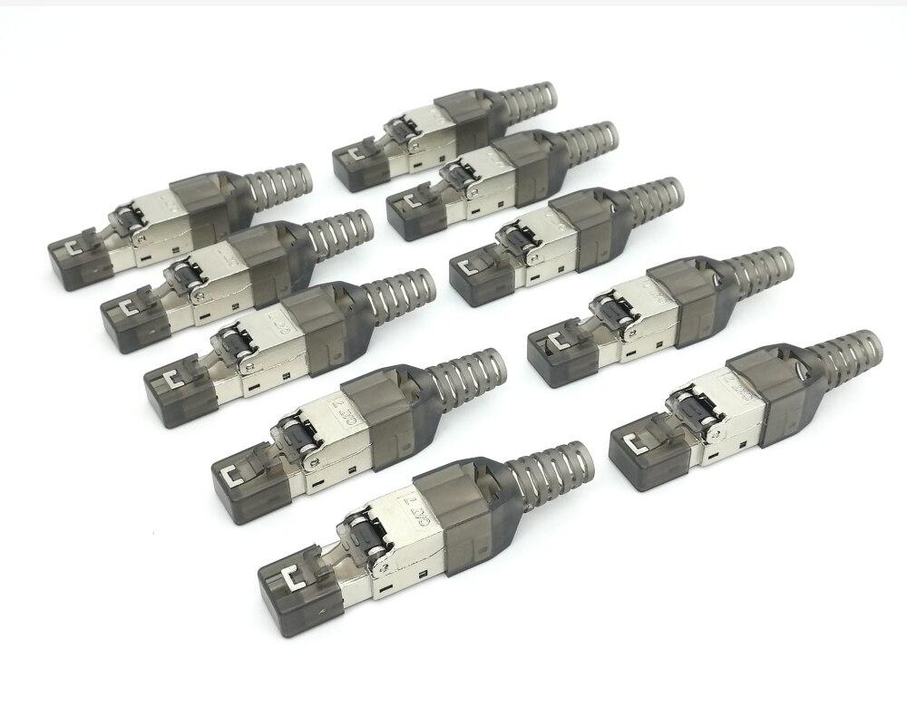 Image 2 - 10Pcs/Lot  Tool Free Shielded RJ45 Cat 7 / Cat6A Termination Plug  Cat7 Plug / Cat7 Connector cat6A connectors  Modular 23/24AWGComputer  Cables