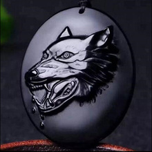 Drop Shipping Natural Black Obsidian Wolf Head Pendant Necklace Amulet Crystal Jewelry  For Women Men With Chain Gift