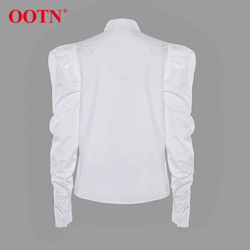 H9f193feaf062460f8524a454c47adcb1f - OOTN Elegant White Puff Sleeve Blouse Women Shirts Office Lady Ladies Work Wear Turn Down Collar Womens Tops And Blouses Female