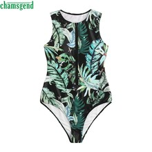 Chamsgend One-piece Swimwear Summer Trend Coconut Print Zipper Bathing Suit Clothing With Pad Ladies High-waisted Swimwear(China)