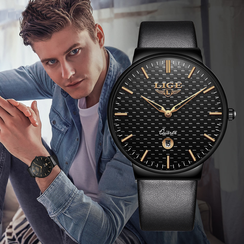 Relogio Masculino LIGE New Men Watch Top Brand Simple Leather Waterproof Sport Watches Automatic Date Quartz Watches For Mens