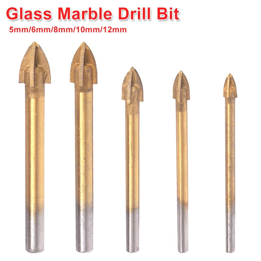 Tungsten Carbide Cross Spear Head Drill Titanium Coated Ceramic Tile Glass Marble Drill Bit Round Shank 5mm/6mm/8mm/10mm/12mm