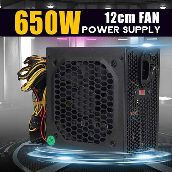 цена на MAX 650W PSU ATX 12V Gaming PC Power Supply 24Pin / PCI /SATA /ATX 700 Walt 12CM Fan New Computer Power Supply For BTC