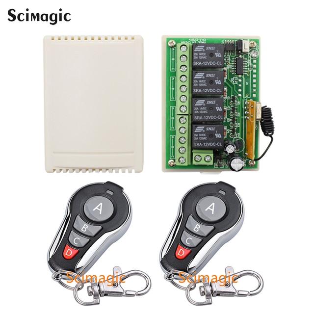 433Mhz Universal Wireless Remote Control Switch DC 12V 4 CH RF Relay Receiver Module + RF Remote 433 Mhz Transmitter Diy