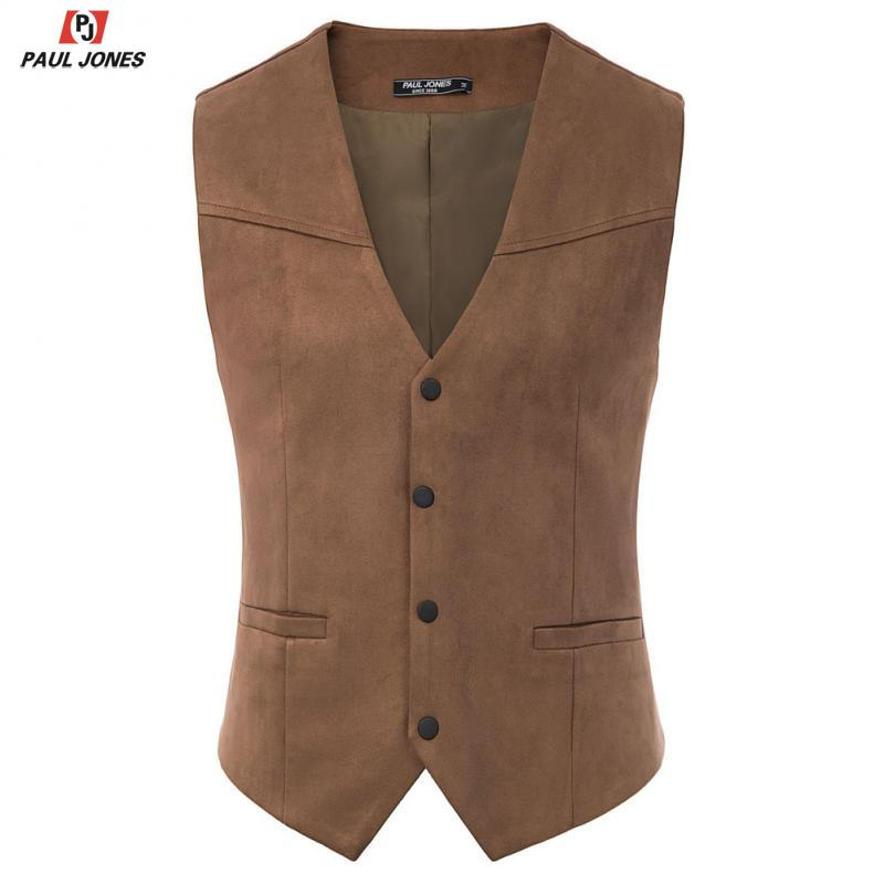 PAUL JONES Men Faux Suede Leather Suit Vest Casual Western Waistcoat V-Neck Snap-Button Placket Sleeveless Jacket Vests PJE02026