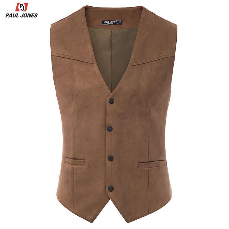 PAUL JONES Men Faux Suede Leather Suit Vest Casual Western Waistcoat V-Neck Snap-Button Placket Sleeveless Jacket Vests PJE02026