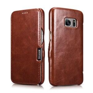 Image 2 - Funda de cuero genuino de lujo para Samsung Galaxy S7 Fundas de moda de pantalla completa cubierta de protección magnética Flip Cover Fundas de teléfono