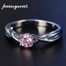 Женское кольцо с камнем на день рождения pansysen розовое и