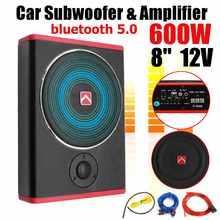 8 Polegada 600w carro subwoofer alto-falante amplificador de potência do carro bluetooth 5.0 ultra-fino ativo subwoofer áudio do carro 12v