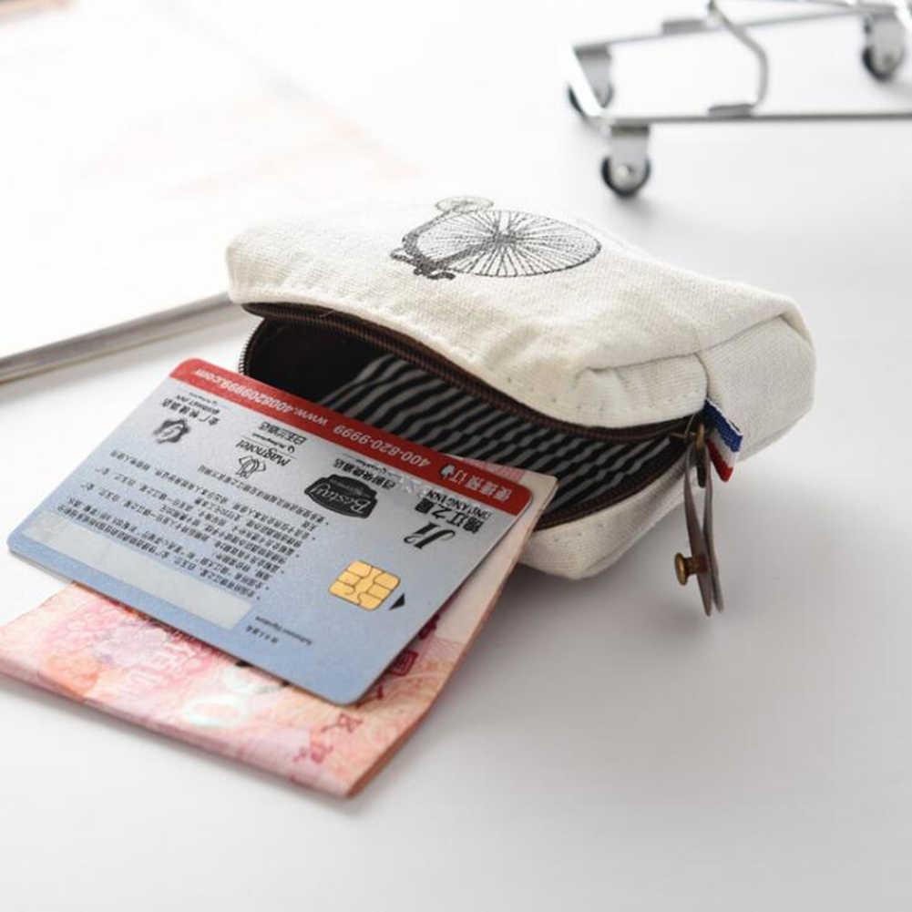 Bolsa de moedas clássica vintage, carteira pequena com zíper para dinheiro, porta-moedas retrô