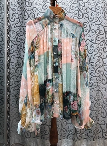 2020 Spring and Summer New Women's Small Collar ding zhu kou Color Printing Pleated Long-Sleeved Shirts Shirt 416