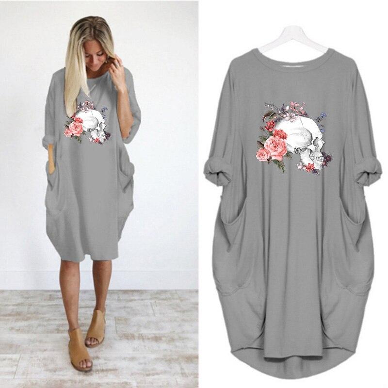 Women Loose Dresses Long Sleeve Dress Plus Size Harajuku Skull Print Casual Robes Femme Vintage o Neck Pocket Party Vestidos 203