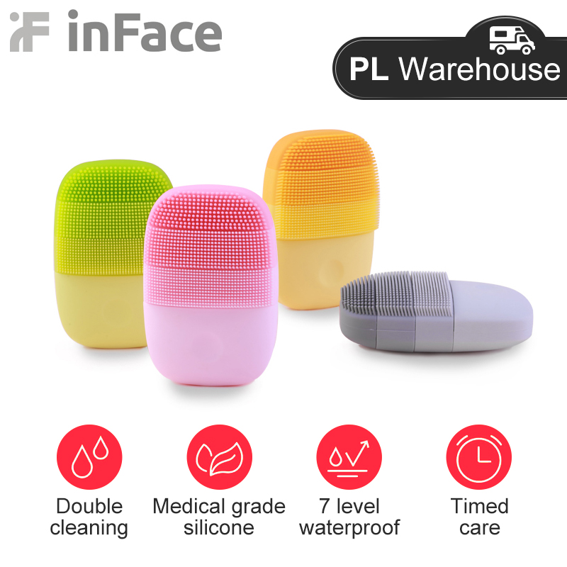 InFace Xiaomi Sonic Face Brush Cleanser Electric Deep Facial Cleansing Massager Waterproof Silicone Ultrasonic Skin Scrubber