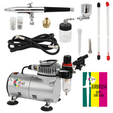 OPHIR 3 Tips 7cc 22cc Dual Action Airbrush Kit with Air Compressor for Car Paint Body Art Temporary Tattoo Nail Art_AC089+AC074