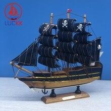 LUCKK 24CM Simulation Caribbean Wooden Black Pearl Pirates Ships Model Retro Home Desktop Decor Crafts Sailing Kids Like Gifts
